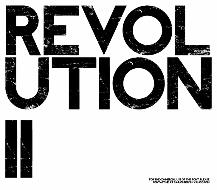REVOLUTION II Font design screenshot