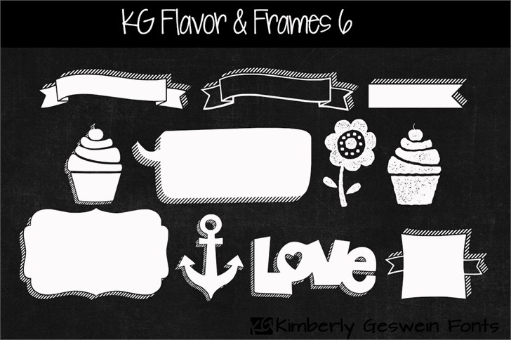 KG Flavor And Frames Six Font cartoon illustration