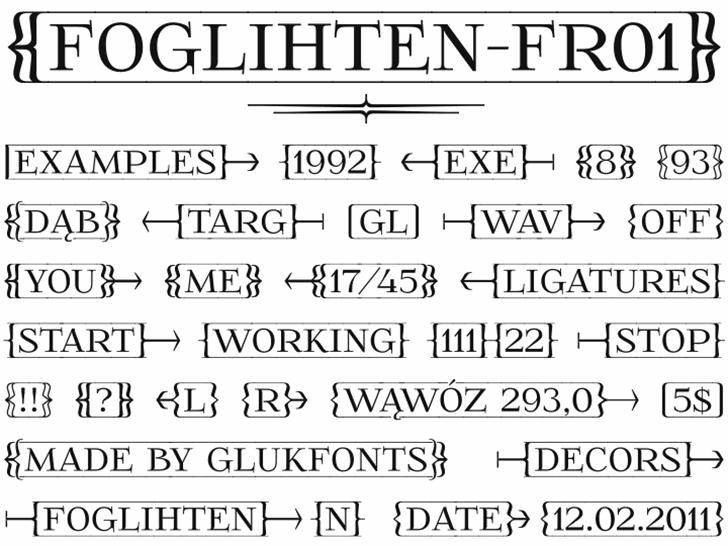FoglihtenFr01 Font screenshot text