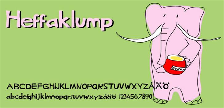 Heffaklump Font cartoon illustration