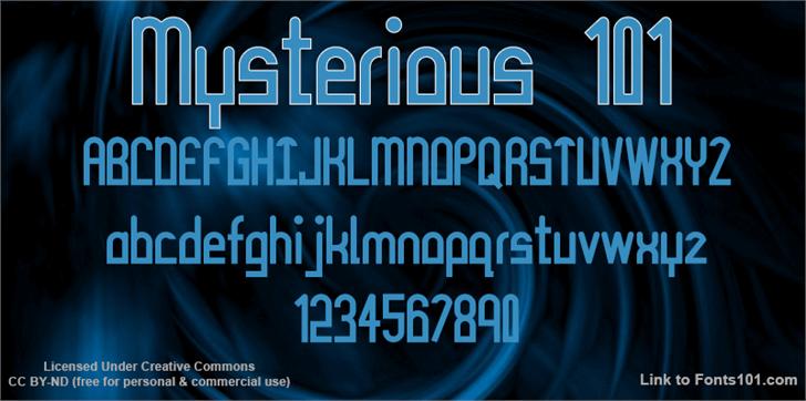Mysterious 101 Font screenshot text