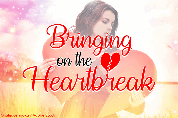 Bringing on the Heartbreak font by Misti's Fonts