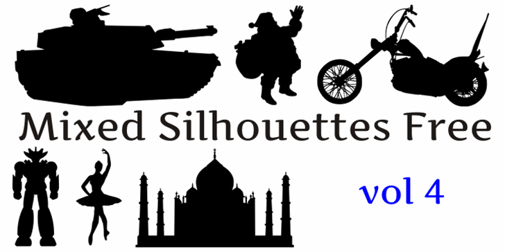 Mixed Silhouettes Free vol 3 Font text