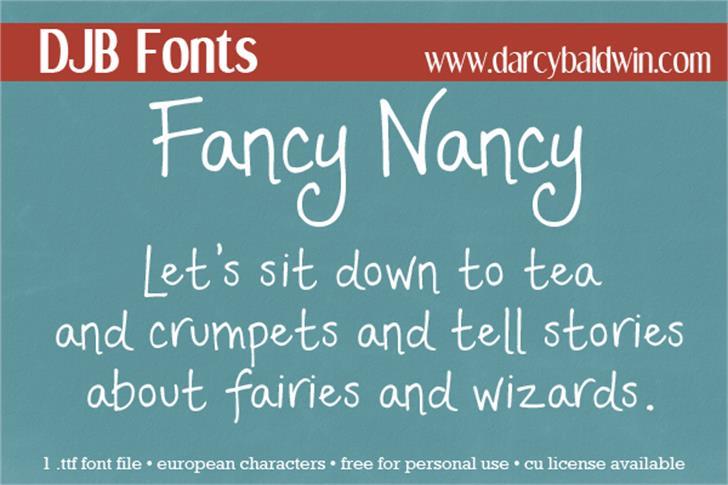 DJB Fancy Nancy Font text handwriting
