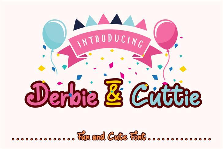 Derbie & Cuttie Demo Font cartoon design