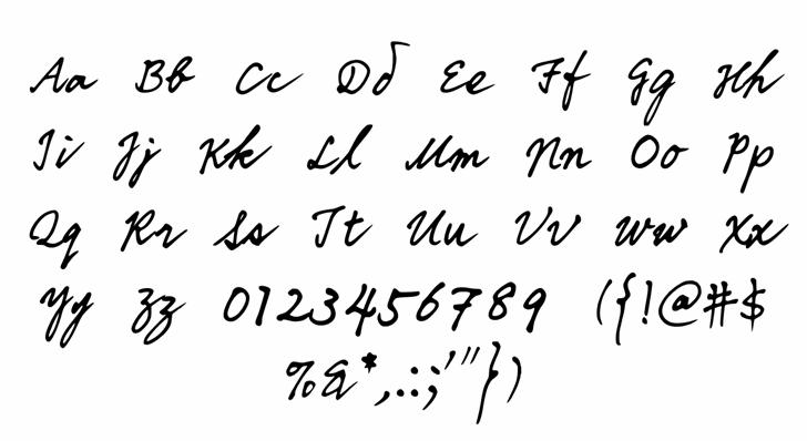 DDIHandwriting Font Letters Charmap