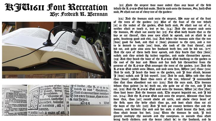 KJV1611 Font text newspaper