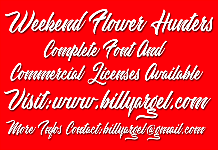 Weekend Flower Hunters Personal Font design text