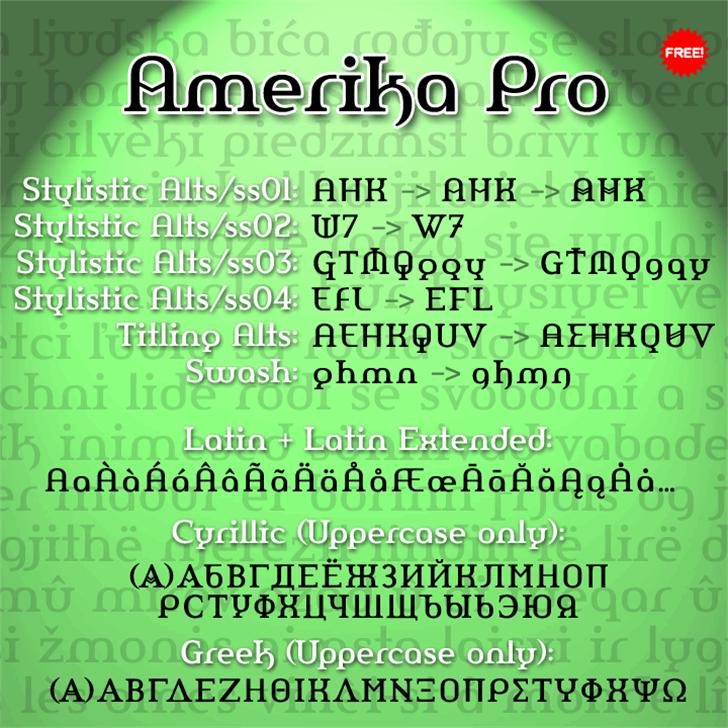 Amerika Pro Font screenshot text