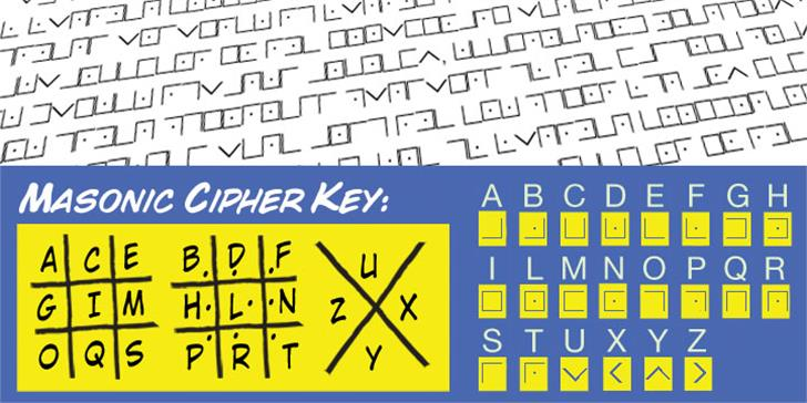 Illuminati Masonic Cipher Font design text