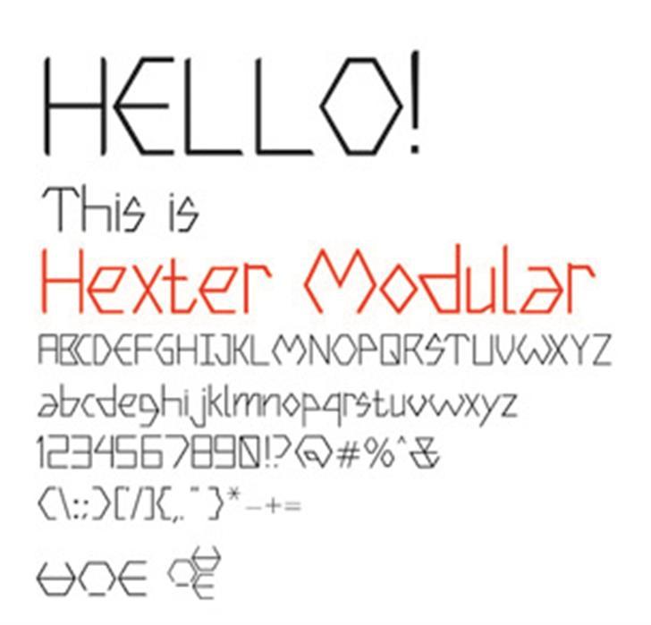 Hexter Modular Font design screenshot