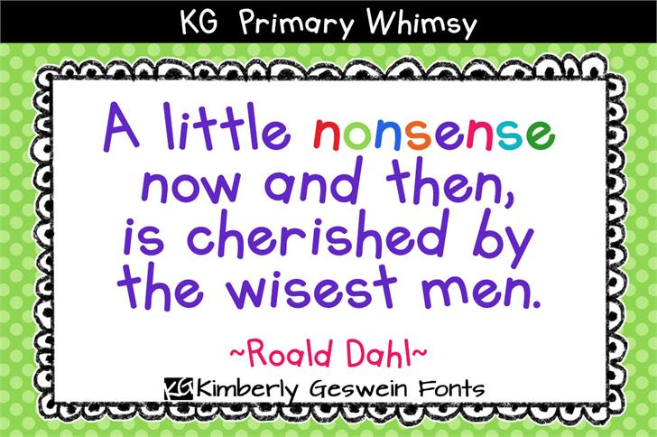 KG Primary Whimsy Font design graphic