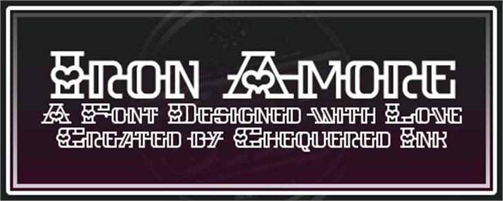 Iron Amore Font screenshot design