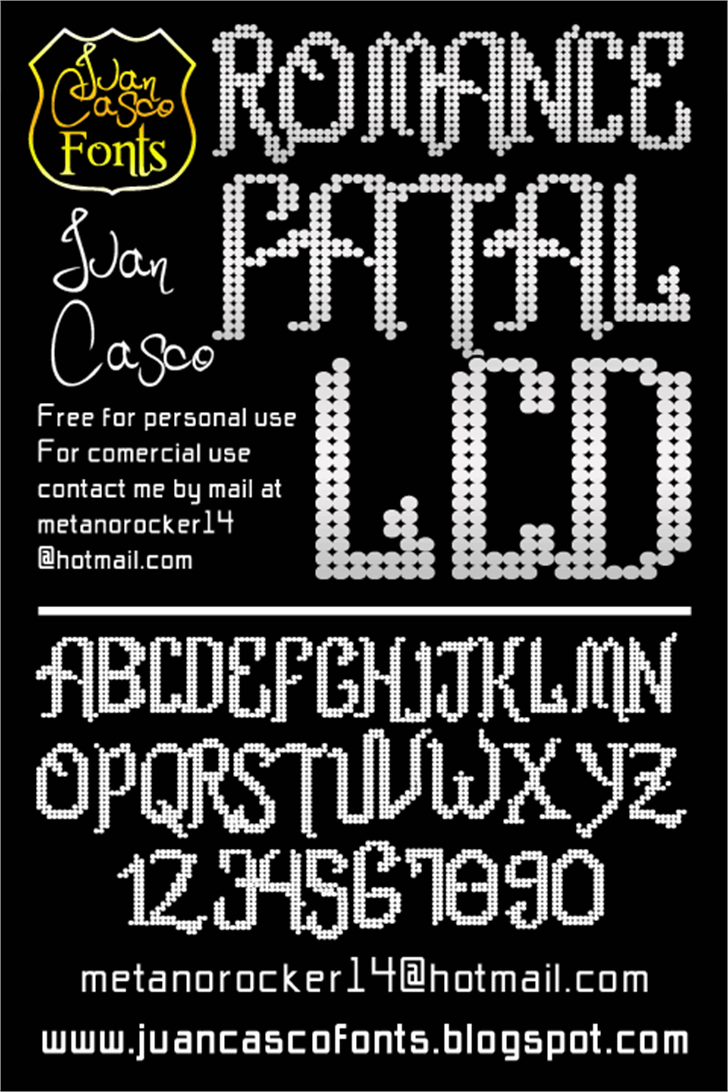 Romance fatal LCD Font text screenshot