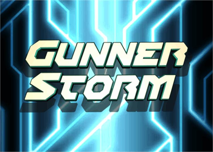 Gunner Storm Font screenshot graphic design