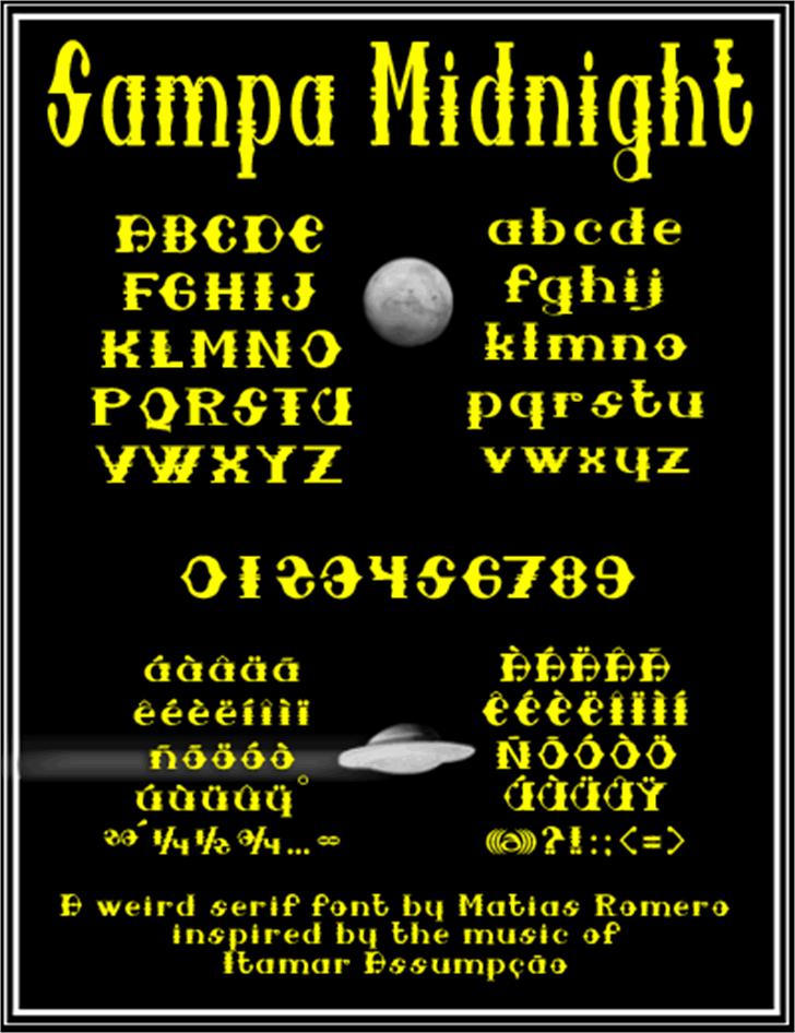 Sampa Midnight Font design moon