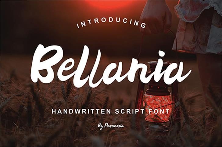 Bellania Font design text