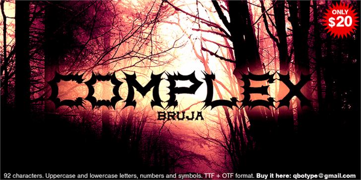 Complex bruja Font tree silhouette