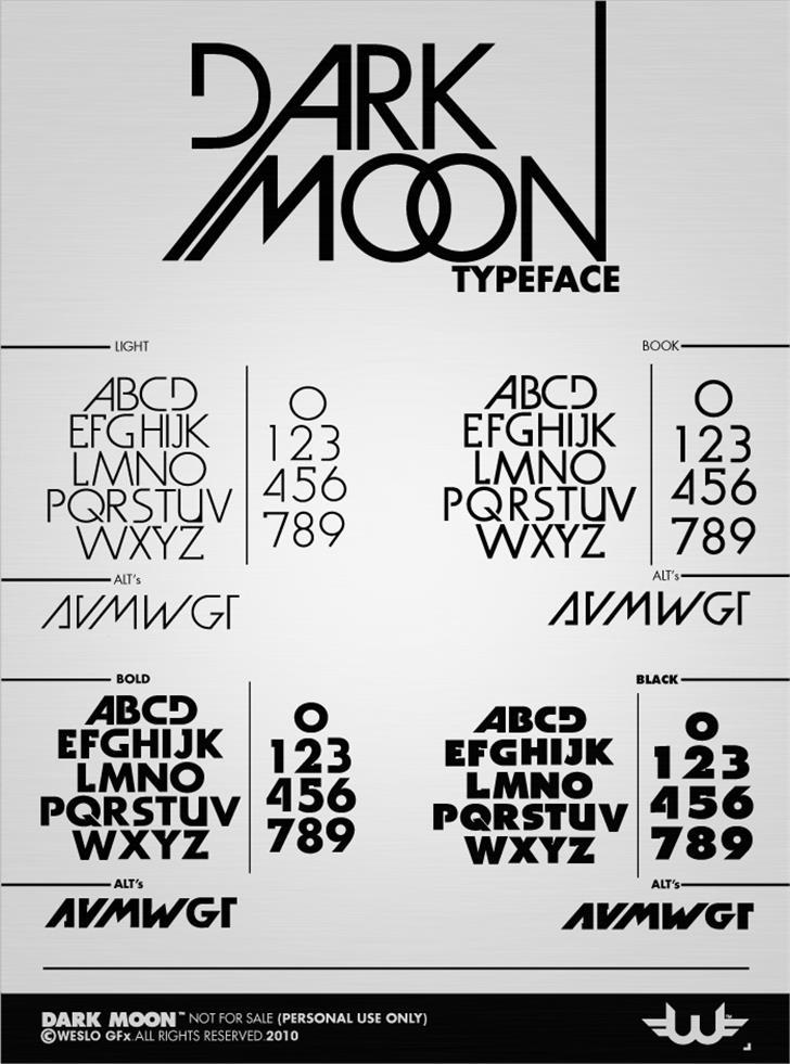 Dark Moon Font text typography