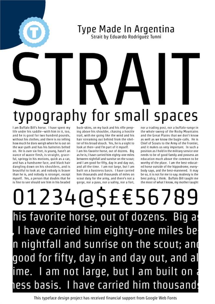 Strait Font text poster