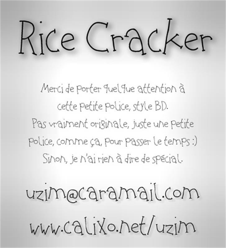 Rice Cracker Font handwriting text