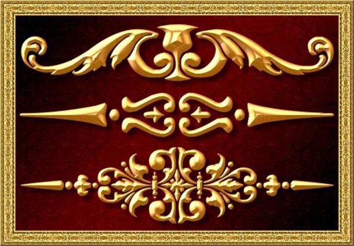 Vintage Decorative Signs 4 Font bronze gold