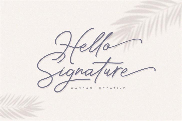 Hello Signature Font poster