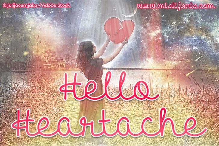 Hello Heartache Font text book