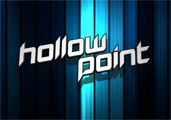 Hollow Point Font screenshot electric blue