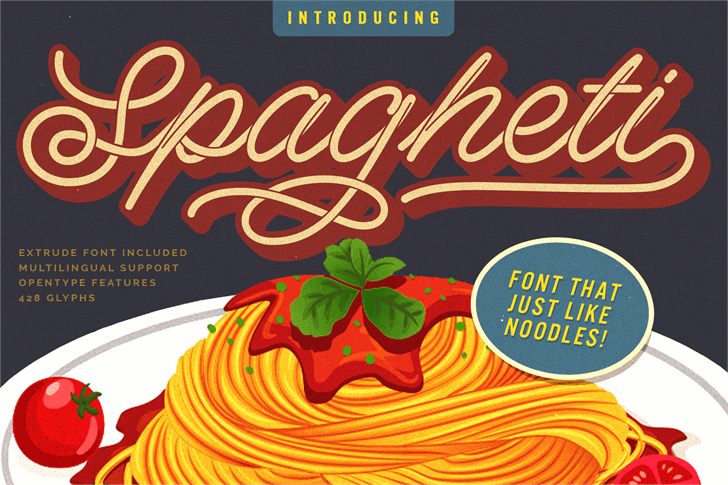 Spagheti Xtrude Personal Use Font poster