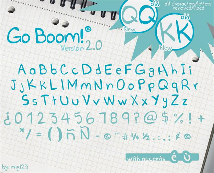 Go Boom! Font text handwriting