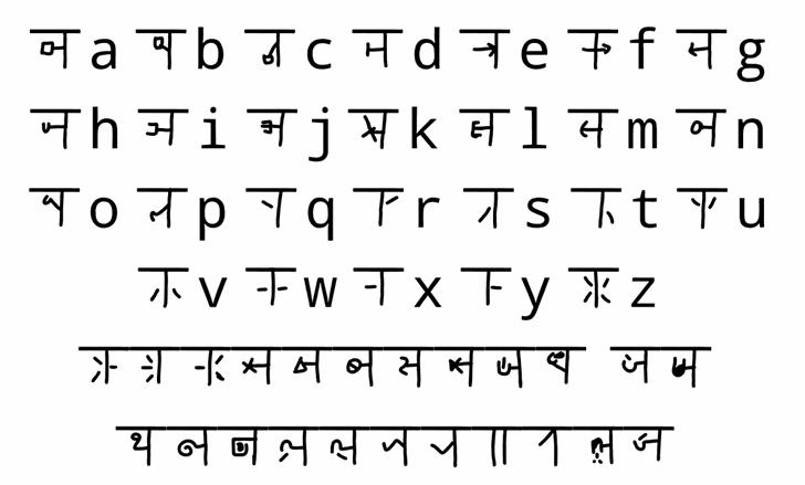 mudrakshar 4 Font Letters Charmap