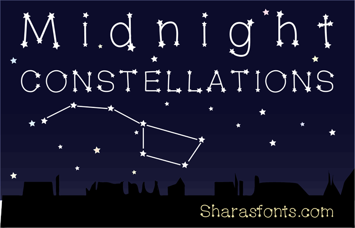 MidnightConstellations Font screenshot design
