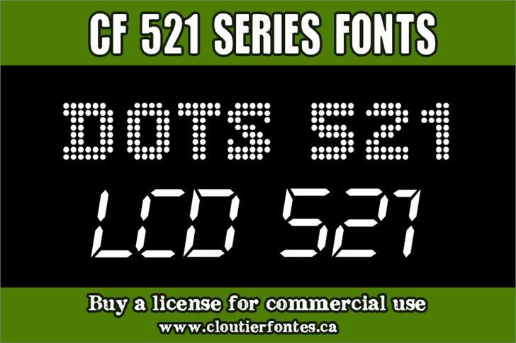 CF LCD 521 Font screenshot design