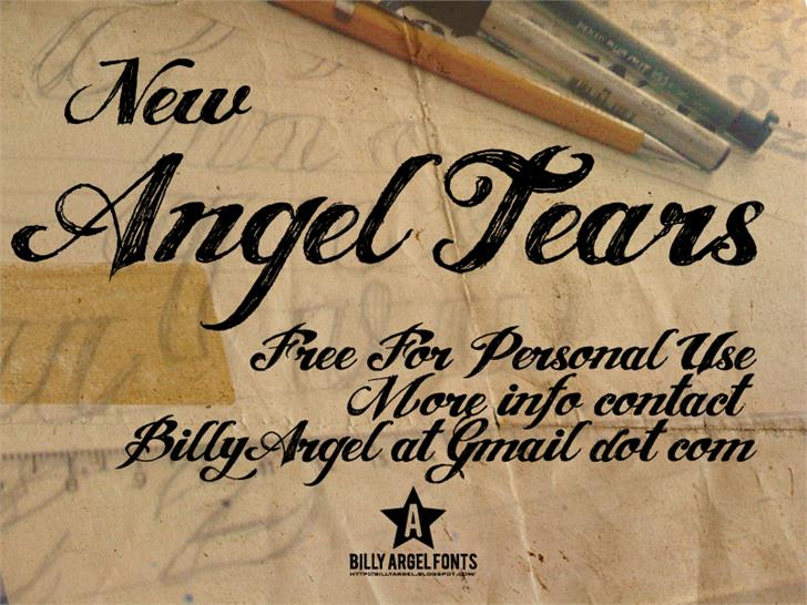 ANGEL TEARS Font handwriting text
