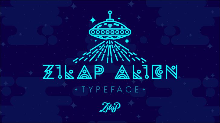 Zilap Alien Font design screenshot