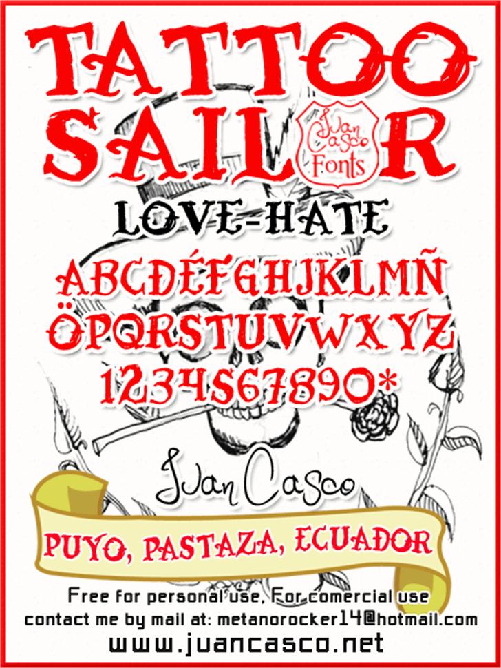 Tattoo Sailor Font cartoon text