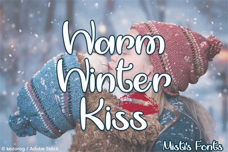Warm Winter Kiss Font design cartoon