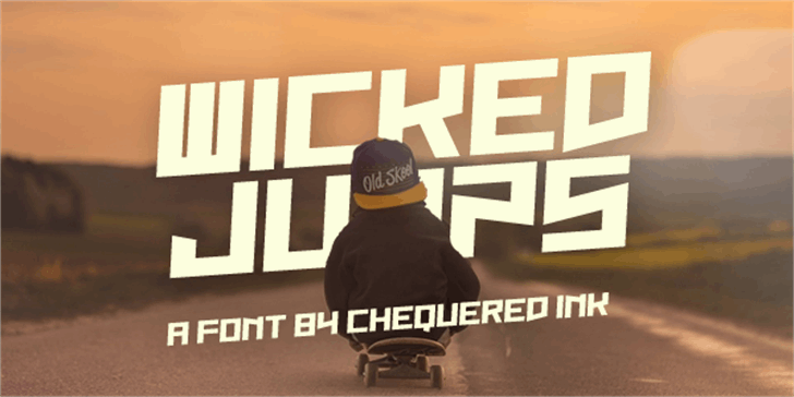 Wicked Jumps Font clothing person