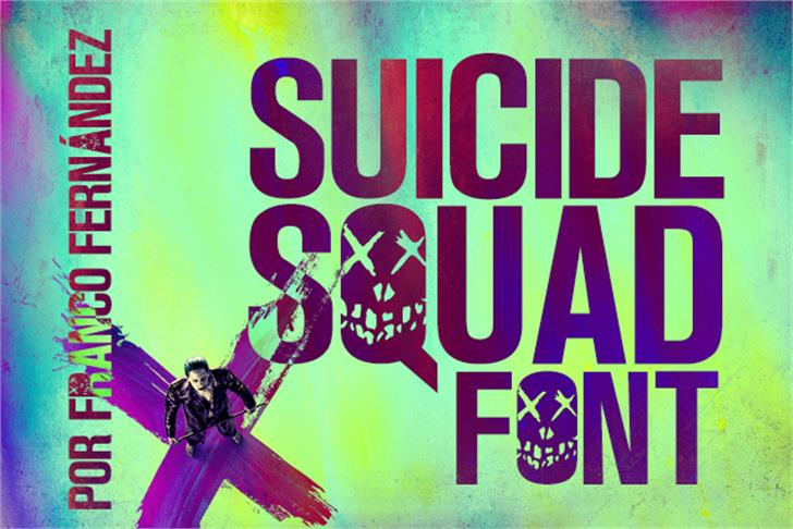 Suicide Squad Font poster cartoon