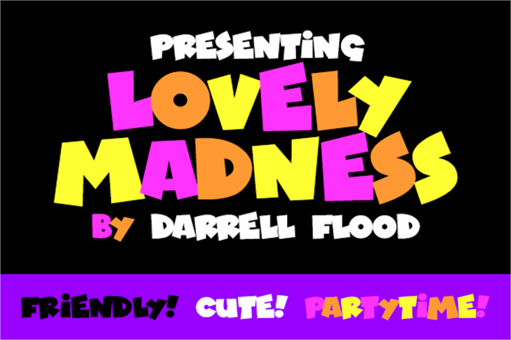 Lovely Madness Font cartoon poster