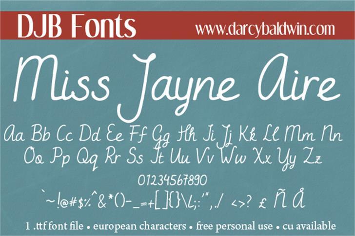 DJB Miss Jayne Aire Font text blackboard