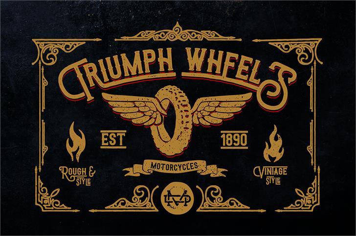 Triumph wheels rough Font poster book
