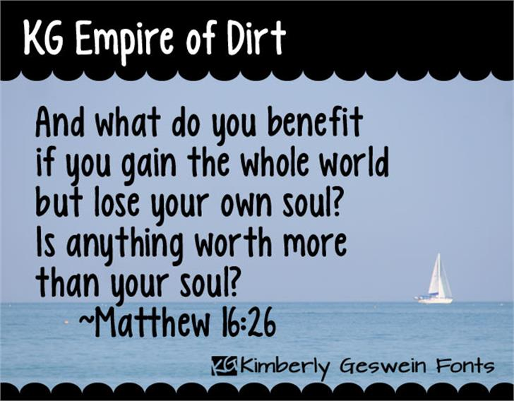 KG Empire of Dirt Font text ship