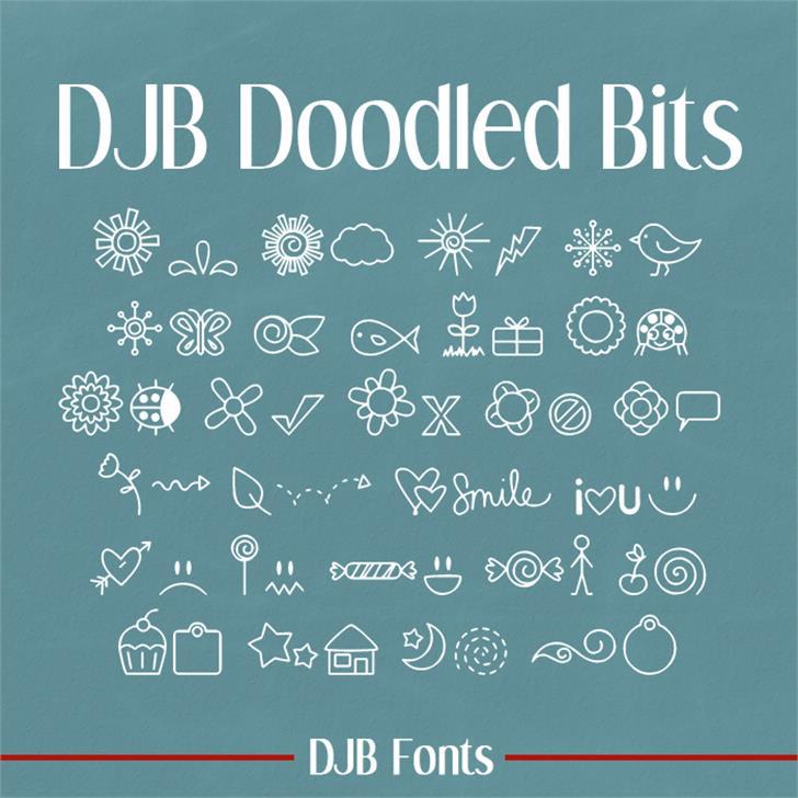 DJB DOODLED BITS Font text blackboard