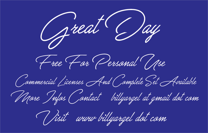 Great Day Personal Use font by Billy Argel