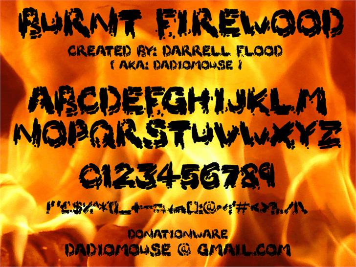 Burnt Firewood Font text book