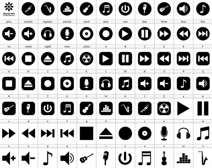 font bottons music Font design