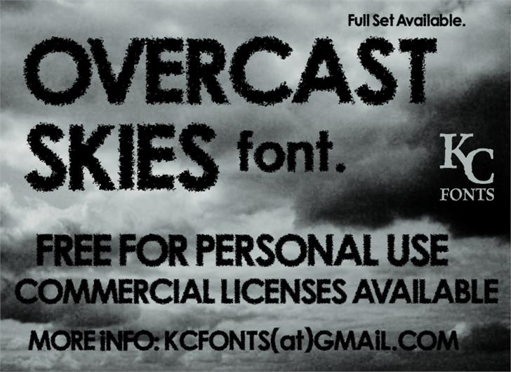Overcast Skies Font text poster