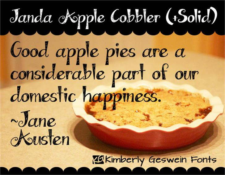 Janda Apple Cobbler Font book text